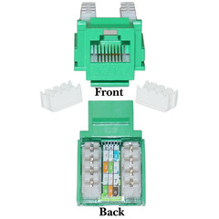 Cat5e Keystone Jack, Green, RJ45 Female to 110 Punch Down - Part Number: 310-120GR