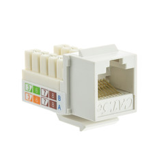Cat5e Keystone Jack, White, RJ45 Female to 110 Punch Down - Part Number: 310-120WH