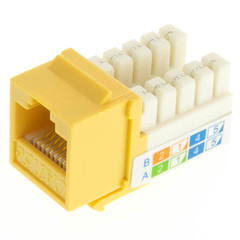 Cat5e Keystone Jack, Yellow, RJ45 Female to 110 Punch Down - Part Number: 310-120YL