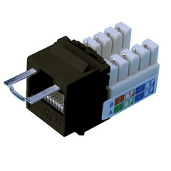 Locking Cat5e Keystone Jack, Black, RJ45 Female to 110 Punch Down, Key Sold Separately - Part Number: 3100-22200