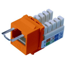 Locking Cat5e Keystone Jack, Orange, RJ45 Female to 110 Punch Down, Key Sold Separately - Part Number: 3100-23100
