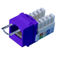 Locking Cat5e Keystone Jack, Purple, RJ45 Female to 110 Punch Down, Key Sold Separately - Part Number: 3100-24100