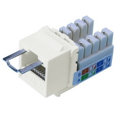 Locking Cat5e Keystone Jack, White, RJ45 Female to 110 Punch Down, Key Sold Separately - Part Number: 3100-29100