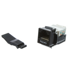 Cat5e Keystone Jack, Black, Toolless, RJ45 Female - Part Number: 311-120BK
