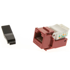 Cat5e Keystone Jack, Red, Toolless, RJ45 Female - Part Number: 311-120RD