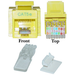 Cat5e Keystone Jack, Yellow, Toolless, RJ45 Female - Part Number: 311-120YL