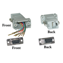 Modular Adapter, Gray, DB9 Female to RJ45 Jack - Part Number: 31D1-17400