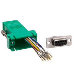 Modular Adapter, Green, DB9 Female to RJ45 Jack - Part Number: 31D1-1740GR