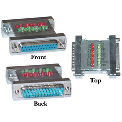 Serial Check Tester With Green and Red LEDs, DB25 Male to DB25 Female - Part Number: 31D3-42200