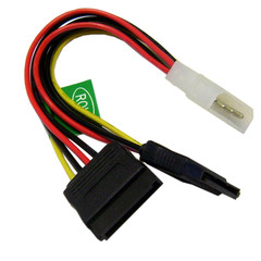 Molex to SATA Power Y Cable, 4 Pin Molex Male to Dual Serial ATA Female, 6 inch - Part Number: 31SA-002P