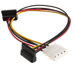 Molex to Dual SATA Power Cable, 4 Pin Molex Male to Dual Serial ATA Female, 14 inch - Part Number: 31SA-005P