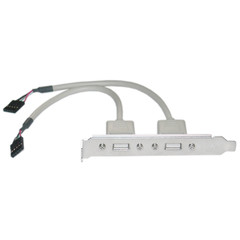 USB PC Expansion Slot Cover, Dual USB Type A Female Ports to Board Header - Part Number: 31U1-02408