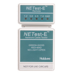 NETest-E Network Cable Tester, Tests Cat5e Cat6 and Cat6a for Wiring Map and Continuity - Part Number: 31X6-04400