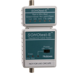 SOHOtest-E Network/Phone/TV Cable Tester, Tests Cat5e, Cat6, Cat6a, Coaxial and Telephone runs for Continuity and Wiring Map - Part Number: 31X6-04500