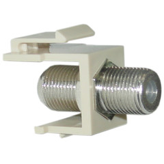 Keystone Insert, Beige, F-pin Coaxial Connector, F-pin Female Coupler - Part Number: 322-120IV