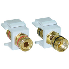 Keystone Insert, White, Banana Plug Binding Post, Banana Plug Female Coupler, Set of 2 (Red/Black) - Part Number: 323-120WH