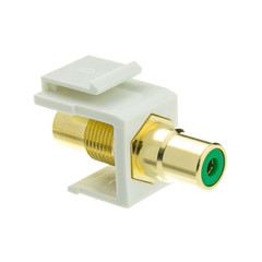 Keystone Insert, White, RCA Female Coupler (Green RCA) - Part Number: 324-120WG
