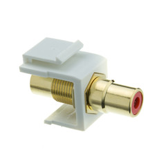 Keystone Insert, White, RCA Female Coupler (Red RCA) - Part Number: 324-120WR