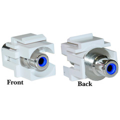 Keystone Insert, White, Recessed RCA Female Coupler (Blue RCA) - Part Number: 324-220WB