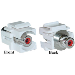 Keystone Insert, White, Recessed RCA Female Coupler (Red RCA) - Part Number: 324-220WR