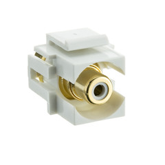 Keystone Insert, White, Recessed RCA Female Coupler (White RCA) - Part Number: 324-220WW