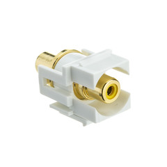 Keystone Insert, White, Recessed RCA Female Coupler (Yellow RCA) - Part Number: 324-220WY