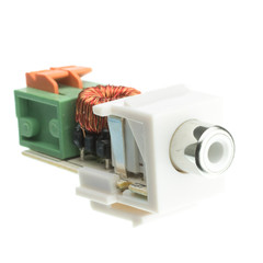 Keystone Insert, White, RCA Female to Balun Over Cat5e (White RCA), Working Distance 350 foot - Part Number: 324-410WH