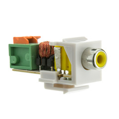 Keystone Insert, White, RCA Female to Balun over twister pair (Yellow RCA), Working Distance 350 foot - Part Number: 324-410YL