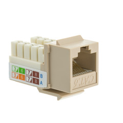 Cat6 Keystone Jack, Beige/Ivory, RJ45 Female to 110 Punch Down - Part Number: 326-120IV