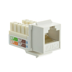 Cat6 Keystone Jack, White, RJ45 Female to 110 Punch Down - Part Number: 326-120WH