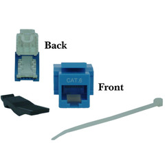 Cat6 Keystone Jack, Blue, Toolless, RJ45 Female - Part Number: 327-120BL