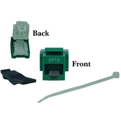 Cat6 Keystone Jack, Green, Toolless, RJ45 Female - Part Number: 327-120GR