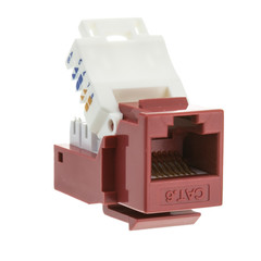 Cat6 Keystone Jack, Red, Toolless, RJ45 Female - Part Number: 327-120RD