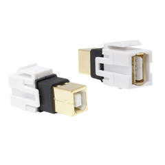 Keystone Insert, White, USB 2.0 Type B Female to Type A Female Adapter, Gold Plated - Part Number: 330-110