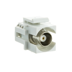 Keystone Insert, White, BNC Female Coupler - Part Number: 330-120WH