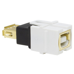 Keystone Insert, White, USB 2.0 Type A Female To Type B Female Adapter, Gold Plated - Part Number: 333-110