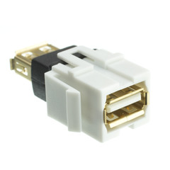 Keystone Insert, White, USB 2.0 Type A Female Coupler, Gold Plated - Part Number: 333-120