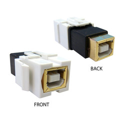 Keystone Insert, White, USB 2.0 Type B Female Coupler, Gold Plated - Part Number: 333-210