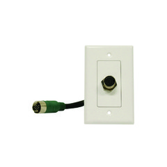 EZ Pull Audio/Video Wall Plate, Green Male to Green Female Junction - Part Number: 3500-05100