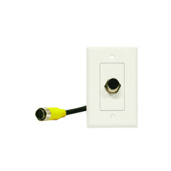 EZ Pull Audio/Video Wall Plate, Yellow Male to Yellow Female Junction - Part Number: 3500-08100