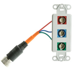 EZ Pull Audio/Video Wall Plate, Orange Male to Component Video (3 BNC Female) Converter - Part Number: 35B3-03100