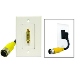 EZ Pull Audio/Video Wall Plate, Yellow Male to DVI-D Female - Part Number: 35V3-08100