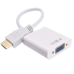 HDMI male  to VGA female Adapter with Stereo Audio Support, Up to 1080P 1920 x 1080, Powered by USB Port - Part Number: 40H1-31400