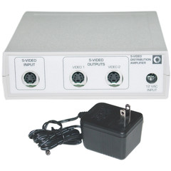 S-Video Splitter, Metal Body, S-Video Male to Dual S-Video Female - Part Number: 40S1-09602