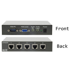 Audio/Video Broadcaster over Cat 5, 5 Port, VGA (HD15) and Audio over Cat 5, Cable Included - Part Number: 41A1-01115