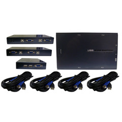 KVM Switch, 4 Port, VGA and USB, Includes 6 foot Cables - Part Number: 41KV-22004