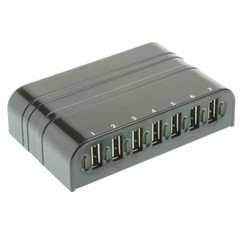 USB 2.0 High Speed Desktop Hub, Black, 7 Port, Self Powered, Multi TT - Part Number: 41U2-21700