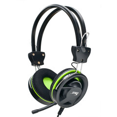 Stereo Headset with Microphone, Modern Style Green Ring Design - Part Number: 5002-10220GR