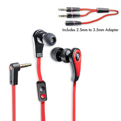 Premium In-Ear Stereo Hands-Free Headphones w/ In-Line Microphone for Smart Phones, Flame Red - Part Number: 5002-10300RD