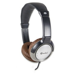 Circumaural Stereo Headphone with In-line Microphone, Brown, Volume Control, On/Off Switch - Part Number: 5002-20200